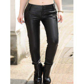 Plus Size Button Up Faux Leather Pants