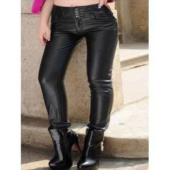 Plus Size Five Pockets PU Leather Pants