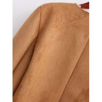 Open Front Long Shearling Coat - BROWN L