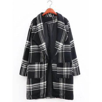 Oversized Plaid Long Wool Coat