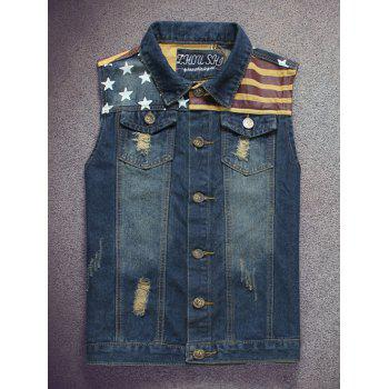 Flag Pattern Scratched Pocket Ripped Denim Vest