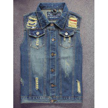 Pocket Embroidered Scratched Ripped Denim Vest
