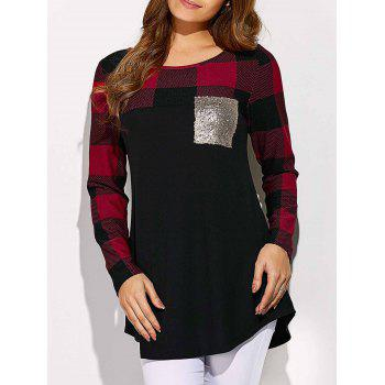 Sequined Pocket Plaid Sleeve Tee