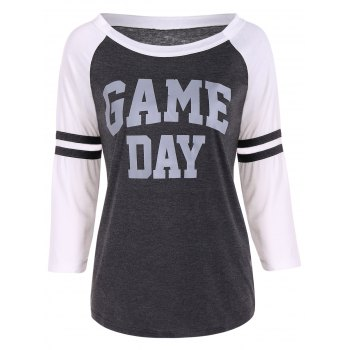 Game Day Graphic Raglan Sleeves Baseball Tee Shirts