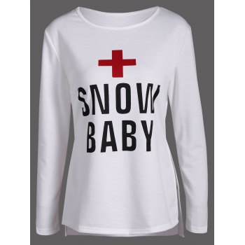Cross Snow Baby Print Side Slit Tee