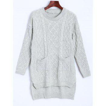 Cable Knit Asymmetrical Pocket Design Sweater