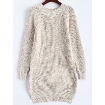 Long Oversized Raglan Sleeve Side Slit Sweater