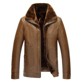 Flocking Pocket Zip Up Faux Leather Jacket