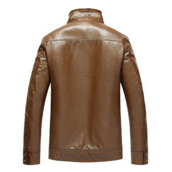 Flocking Pocket Zip Up Faux Leather Jacket - EARTHY 4XL