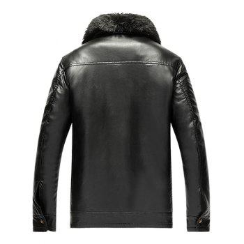 Zip Pocket Detachable Faux Fur Collar PU Leather Flocking Jacket - BLACK L