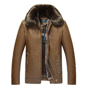 Zip Pocket Detachable Faux Fur Collar PU Leather Flocking Jacket