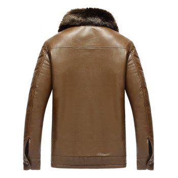 Zip Pocket Detachable Faux Fur Collar PU Leather Flocking Jacket - BROWN L