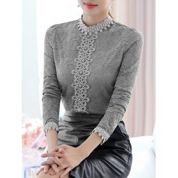 Lace Floral Crochet Fleece Top