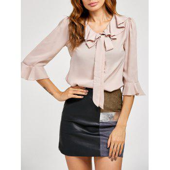 Pussy Bow Bell Sleeves Ruffled Blouse