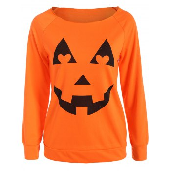 Halloween Pumpkin Graphic Orange Sweatshirt