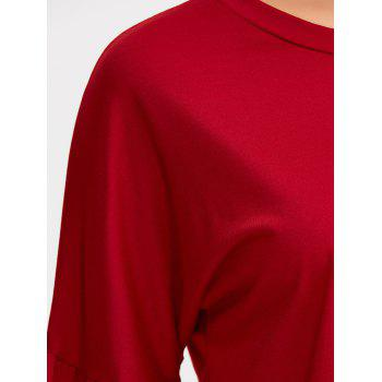 Loose Bell Sleeve T-Shirt - RED M