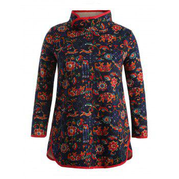Flower Print Long Sleeve Plus Size Dress