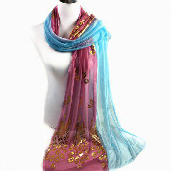 Peacock Gilding Color Block Scarf - CHARM