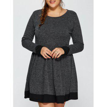 Contrast Trim Plus Size Dress - DEEP GRAY XL
