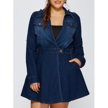 Front Pockets A Line Jean Dress - DEEP BLUE 2XL