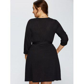 Plus Size Wrap Dress With Bowknot - BLACK BLACK