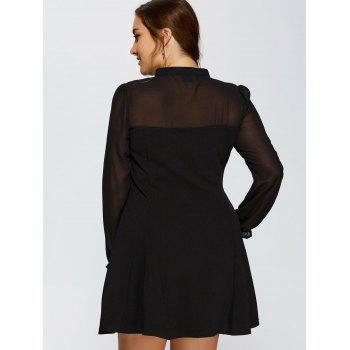 Plus Size Mesh Yarn Insert Long Sleeve Formal Skater Dress - BLACK BLACK