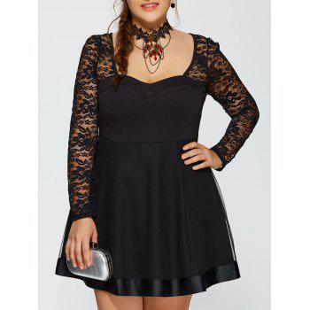 Lace Trim Insert Long Sleeve Skater Dress