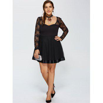 Lace Trim Insert Plus Size Long Sleeve Skater Dress - BLACK BLACK