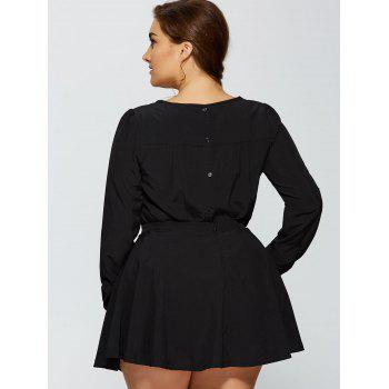Plus Size Bow Tie Long Sleeve T-Shirt and Skirt - BLACK BLACK
