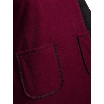 Warm Double Pockets Plus Size Insert Dress - WINE RED WINE RED