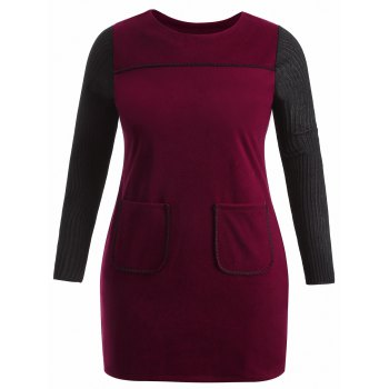 Warm Double Pockets Plus Size Insert Dress - WINE RED XL