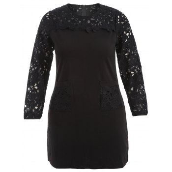 Plus Size Lace Insert Dress With Pockets - BLACK 2XL