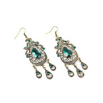 Faux Crystal Filigree Chandelier Earrings - GREEN