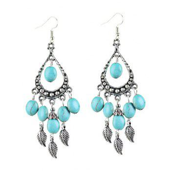 Bohemian Artificial Turquoise Leaf Chandelier Earrings