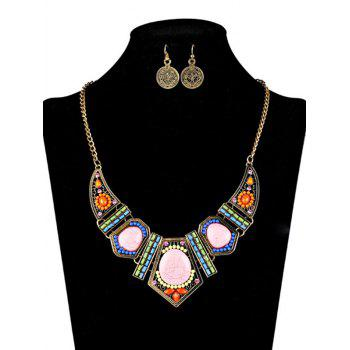 Bohemian Natural Stone Necklace and Earrings