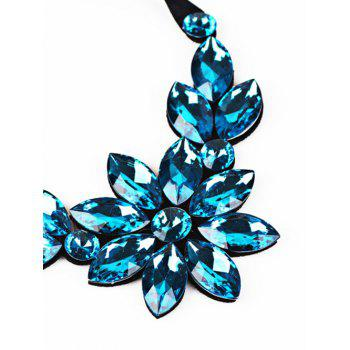 Faux Crystal Floral Statement Necklace - BLUE