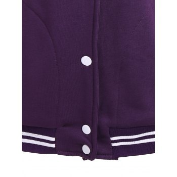 Tribal Print Panel Button Up Hoodie - PURPLE S