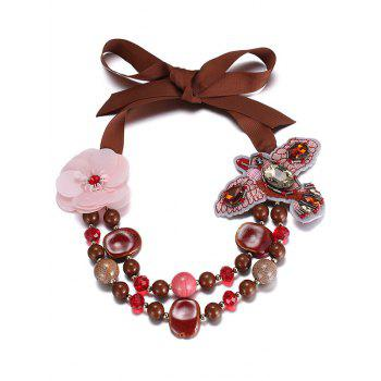 Embroidered Bird Flower Beading Bib Necklace