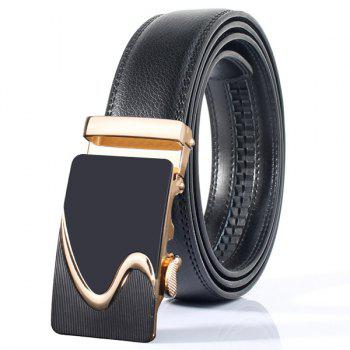 Polished S Shape Stylish Automatic Buckle Wide Belt - GOLDEN GOLDEN