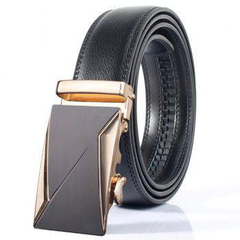 Stylish Double Triangle Polished Automatic Buckle Wide Belt