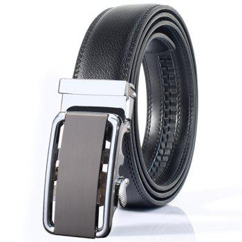 Rounded Rectangle Automatic Buckle Stylish Wide Belt - SILVER SILVER