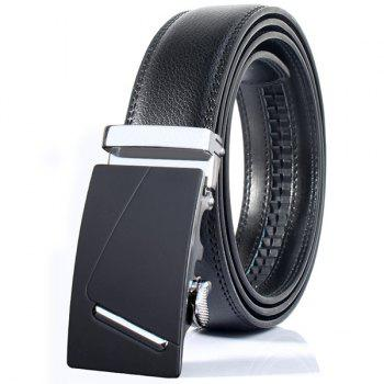 Automatic Buckle Polished Bar Wide Belt - SILVER SILVER