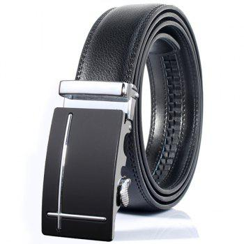 Perpendicular Line Polished Automatic Buckle Wide Belt