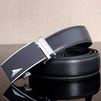 3D Triangle Stylish Automatic Buckle Wide Belt -  SILVER