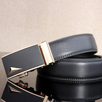 3D Triangle Stylish Automatic Buckle Wide Belt - GOLDEN