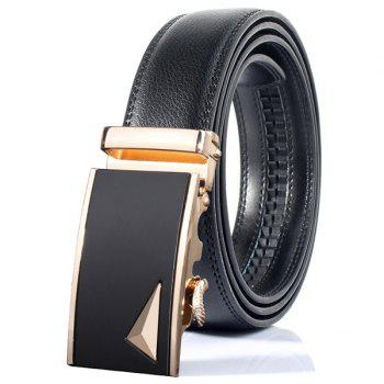 3D Triangle Stylish Automatic Buckle Wide Belt - GOLDEN GOLDEN