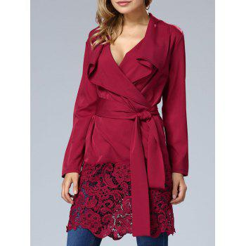 Lace Hem V Neck Wrap Dress