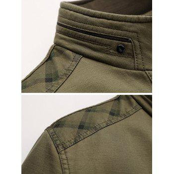 Stand Collar Pocket Insert Zip Up Jacket - COFFEE 2XL