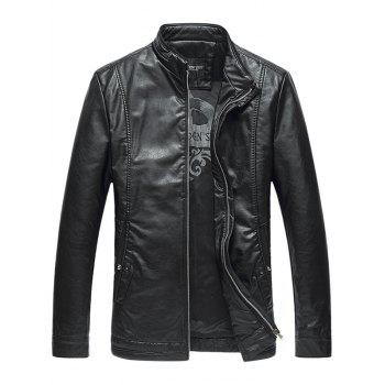 Stand Collar Pocket Padded Faux Leather Jacket
