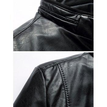 Stand Collar Pocket Padded Faux Leather Jacket - BLACK 5XL